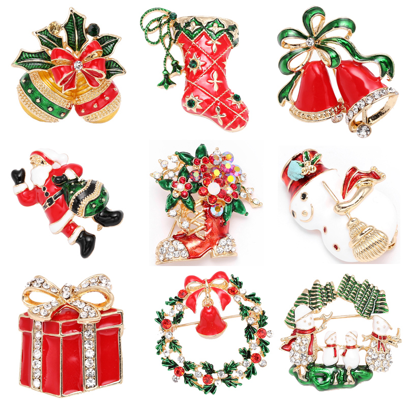 Boosbiy Xmas Enamel Snowman Stockings Santa Tree Brooch Pin Christmas Gifts Women Men Brooches Charm Crystal Rhinestone