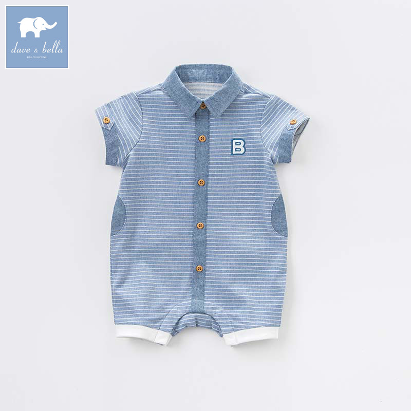 Dave bella new born baby boy romper toddler summer clothing infant short sleeves striped clothes kids jumpsuit DB7331