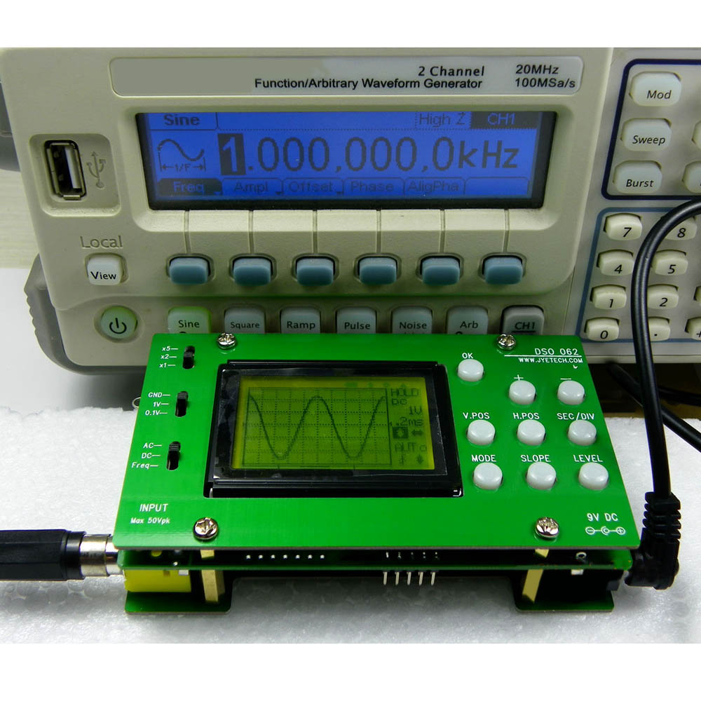 DSO062 Mini LCD Digital Oscilloscope DIY Kit  Real-time Sampling Rate Oscilloscopio 1M Banwidth 2Msps DIY parts цена и фото