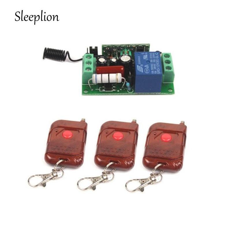 Sleeplion AC 220V 1CH Relay Wireless Remote Control Switch 3 Transmitter + Receiver On/Off 315MHz 433MHz big promotion 2keys 2ch 315 433mhz rf wireless remote control black transmitter without receiver on off