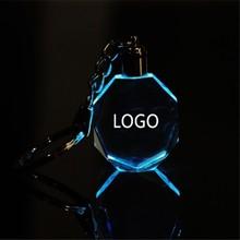 Customized Fashion Laser Engraving LOGO Crystal Keychains Octagonal Shaped LED Key Chain for Wedding Xmas Birthday Gifts