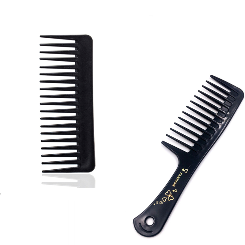 2 Types New Portable Black Wide Tooth Comb Black ABS Plastic Heat-resistant Large Wide Tooth Comb For Hair Styling Tool