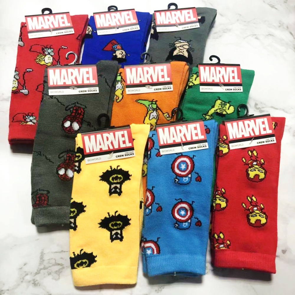 Cartoon marvel DC Avengers men   socks   Captain America Batman iron man Knee-high warm stitching pattern antiskid happy anime   sock