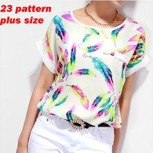 Women Blouses Shirts Chiffon Plus Size Feminina Top Tee Short Shirt Woman Clothing Blusa Camisa Summer