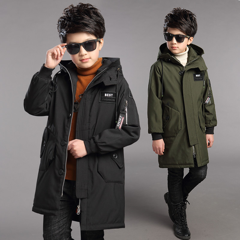 Kids Boys Coat for Age 4 6 8 10 12 to 14 Years Pocket Letter Long Army Green Hooded Coats Kids Cardigan for Winter 2018 5R23A