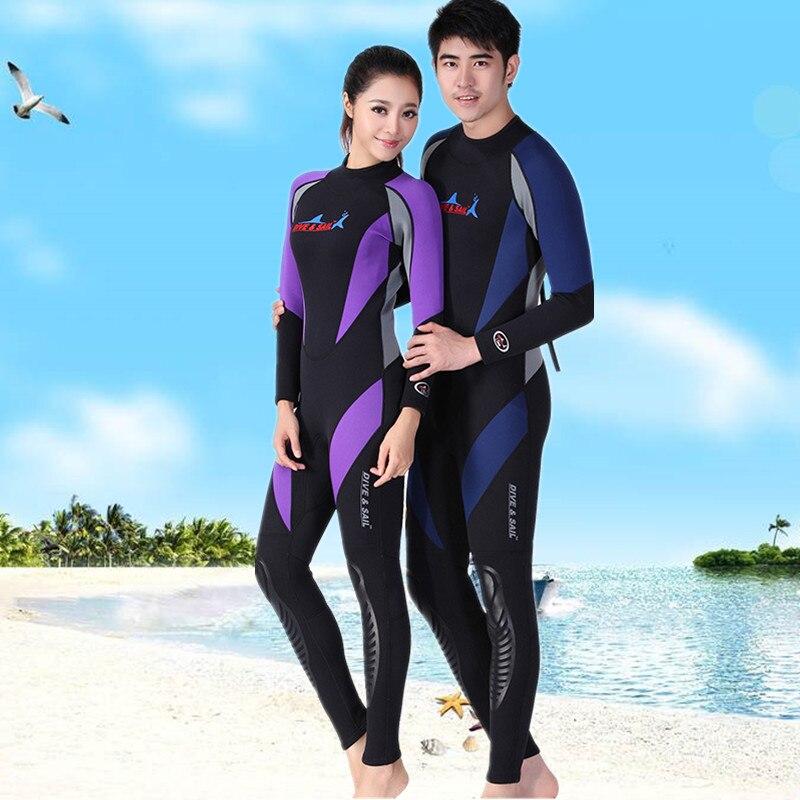 Hommes femmes 1.5mm néoprène plongée sous-marine costume Couple à manches longues combinaisons une pièce plongée en apnée natation costume Anti-UV éruptions cutanées