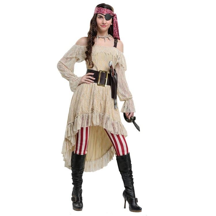 IREK New Halloween Costume Adult Women sweetheart pirate captain cosplay Costume Factory Direct High Quality cosplay v chest pirate costume w turban eyeshade black