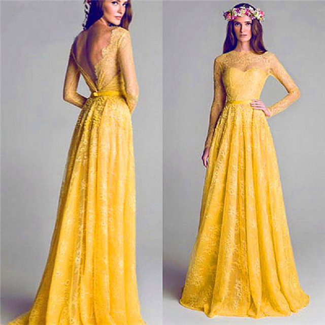 Yellow Open Back Lace Bridesmaid Dresses