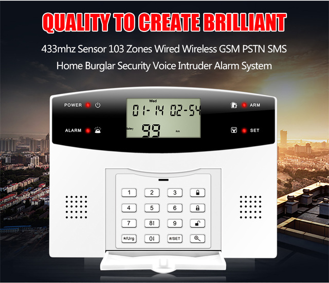 Metal Remote Control Dual-Network GSM/PSTN SMS Kit Burglar Alarm System Security LCD Keyboard Wireless door sensor gsm alarma