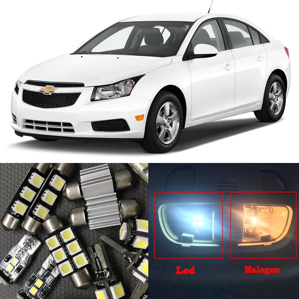 8 White Auto LED Light Bulbs For 2010 2011 2012 2013 2014 2015 Chevy Chevrolet Cruze Interior Package Kit Map License Plate Lamp free shipping leather car floor mat for chevrolet sail 2nd generation 2010 2011 2012 2013 2014 2015 2016