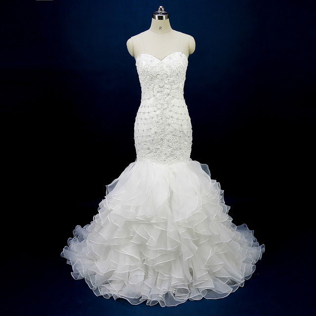 Glitter Greek Mermaid Wedding Dresses Women Bridal Gowns Strapless Ruffled Organza Beads Imported China Corset Back