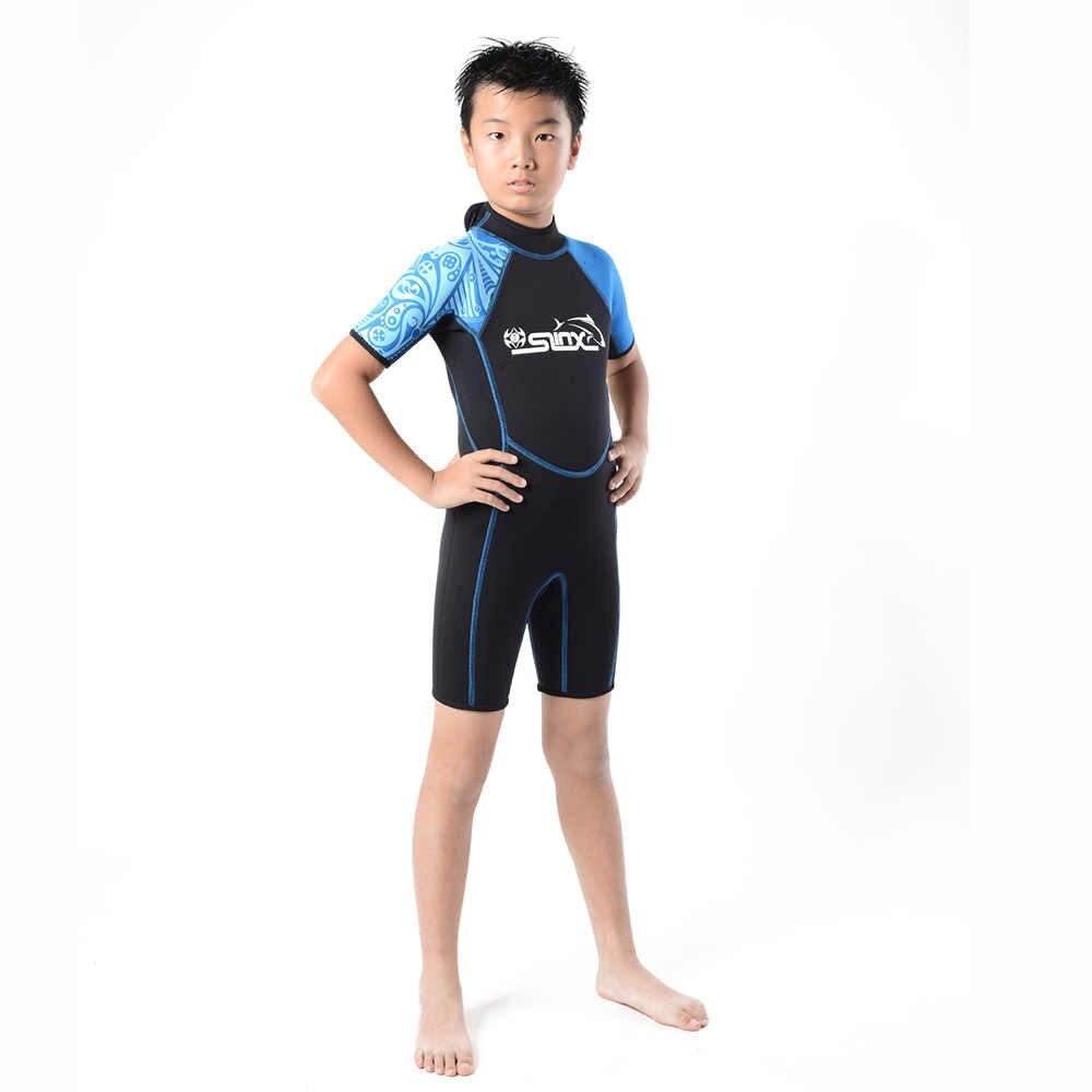Anak Pakaian Menyelam 2 MM Neoprene Wetsuit Laki-laki Perempuan Zipper Kano Kayak Snorkling Berenang Baju Renang anak-anak Pakaian Renang