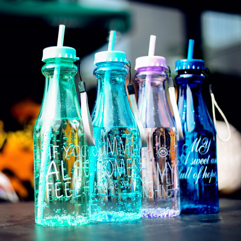 Sl Sports Bottle Rnd 650 Long: Creative Double Covered Straw Plastic Water Bottle Fall