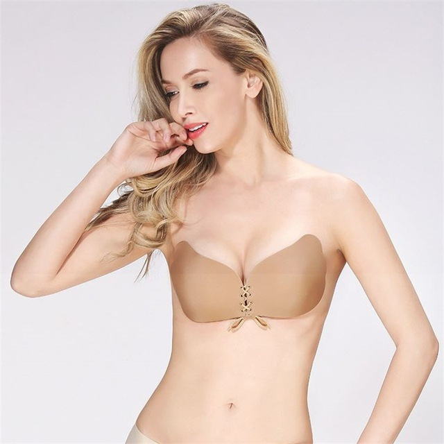 04e09cc017 Bandage Self Adhesive Invisible Strapless Push Up Bra Top Stick Gel  Silicone Bralette Sexy Deep V Bras for Women