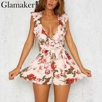 Glamaker Flower Print Women Jumpsuit Romper Combine Backless Lace Up Sexy Jumpsuit Romper Female Ruffle V