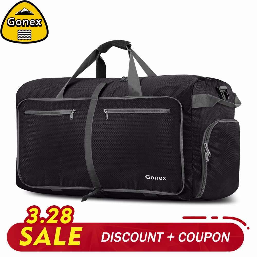 b3ca313d1225 Gonex 80L модные для мужчин Путешествия Duffle Сумки Большой нейлоновая сумка  чемодан Packable Сумочка для спортзала