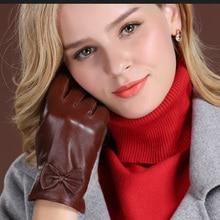 WomenS Winter Warm Real Leather Gloves High-End Goatskin Short Paragraph Plus Velvet Thick GR-60050-5