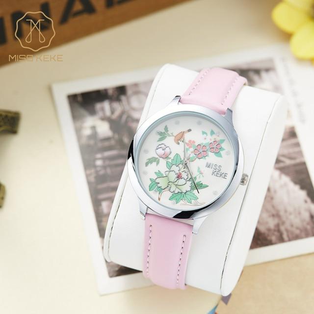 Miss Keke Children Cute 3D Clay Flower Dress Watches Kids Girls Quartz Wristwatch Pink Leather Dress Designer Watch Clock 1321