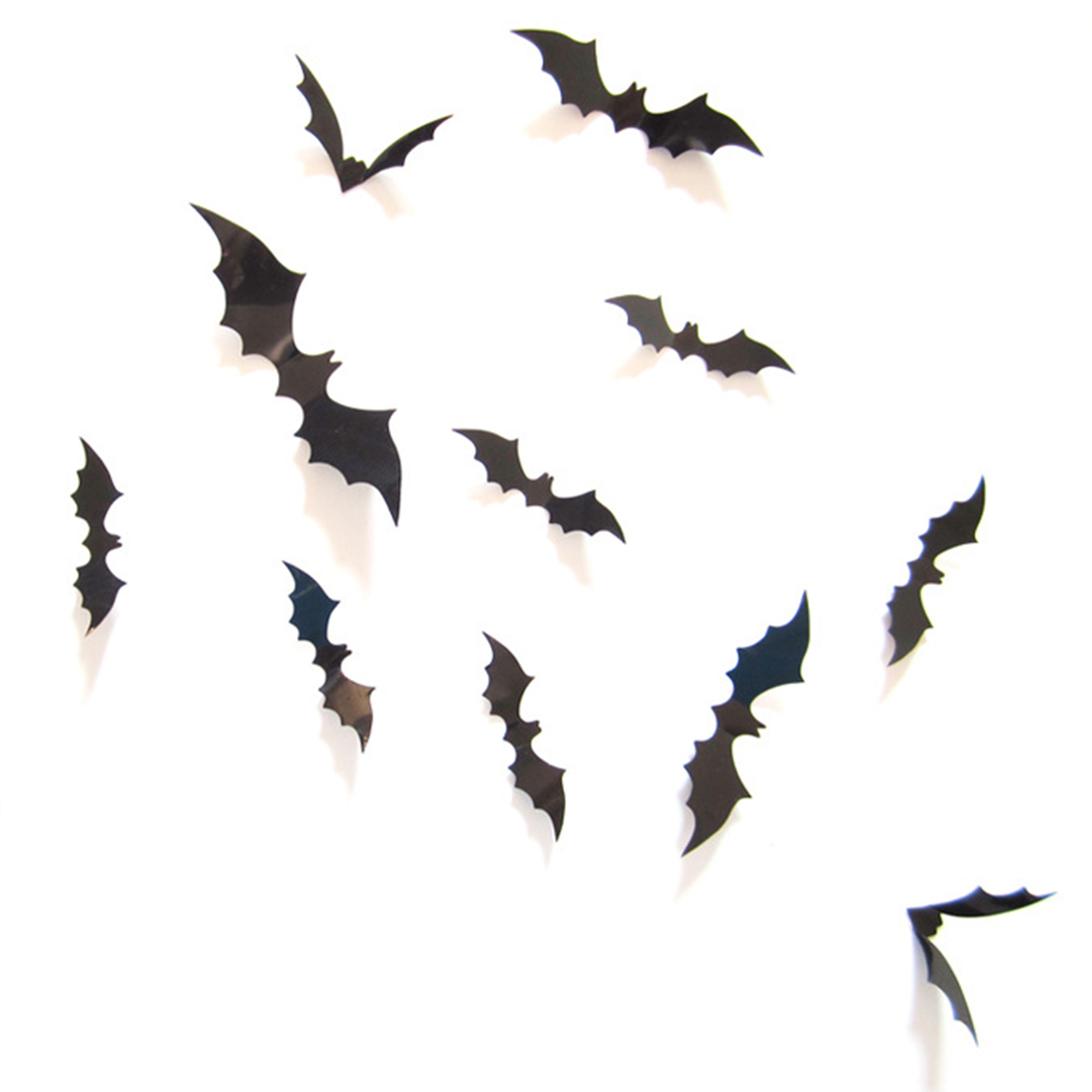 12pcsset 2016 attractive 3d diy pvc red black bat wall sticker decal home halloween decoration bats sticker supply - Bat Halloween Decorations
