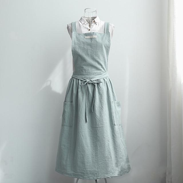 9fa3ae6615 Women Bib Apron Cotton Linen Sleeveless Pinafore Dress Home Cooking Florist  Cute