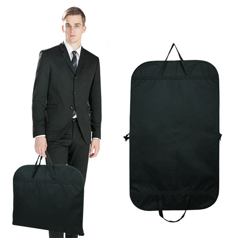 Zebella Black Men Dust-proof Hanger Coat Clothes Garment Suit Cover Storage Bags Durable Men Business Trip Travel Mochila