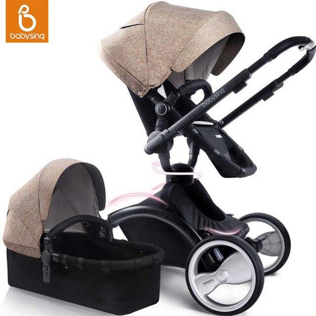 Babysing Baby Stroller 2 in 1 Luxury High Landscape Travel System Baby Pram 360 Rotation Pushchair with Bassinet
