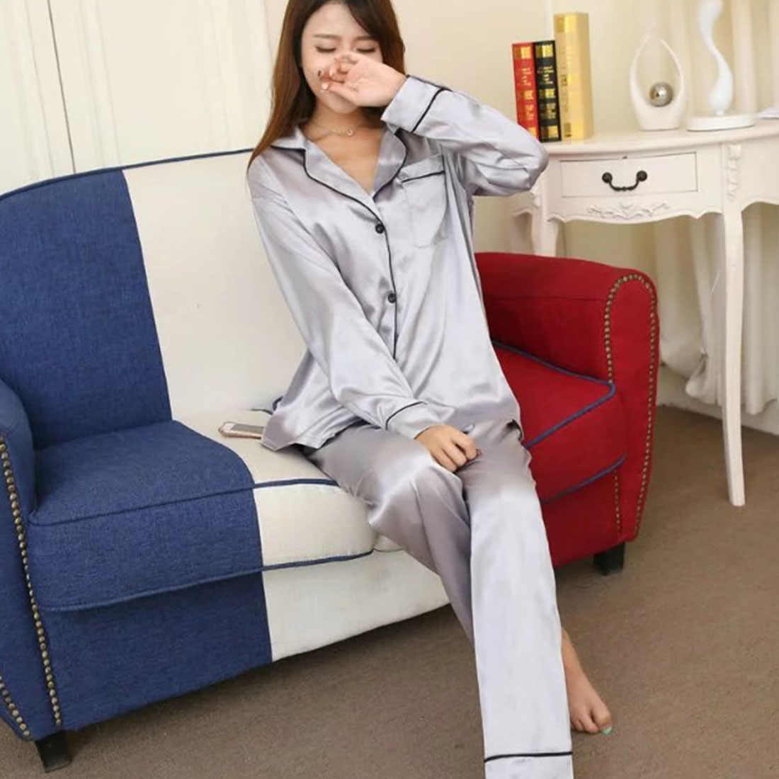 f7442ee9c58ff7 Soft Faux Silk Satin Upscale Couples Pajamas Sets Men Women Long Sleeve  Sleepwear Home wear Nightshirt