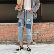 Summer New Jeans Men Fashion Casual Tear Hole Denim Pants Man Streetwear Trend Wild Hip Hop Loose Trousers Male Clothes M-5XL summer new fashion trend male retro printing mid waist loose casual denim pants stylish scratched skull hip hop jeans men