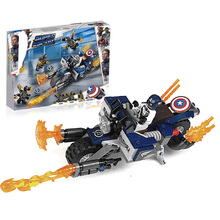 цена на Super Heroes Captain America:outriders Attack Compatible With Legoing 76123 Set Building Blocks Bricks Assembled Diy Toys