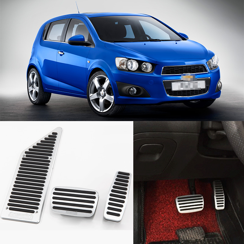 Savanini Brand New 3pcs Aluminium Non Slip Foot Rest Fuel Gas Brake Pedal Cover For Chevrolet Aveo AT car styling for bmw new 1 2 3 4 series gt f30 f31 f34 touring 320i 328i accelerator brake foot rest pedal pads non slip covers