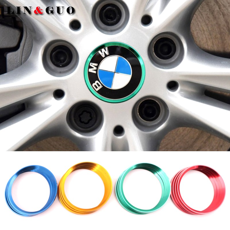 4pcs case for <font><b>Bmw</b></font> 1 2 <font><b>3</b></font> <font><b>GT</b></font> 5 7 <font><b>Series</b></font> X1X3X4X5X6 Car Wheel center decorative ring Accessories car-styling image