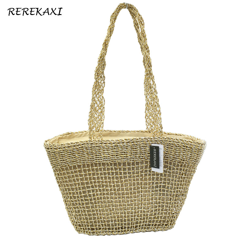 <font><b>REREKAXI</b></font> New Fashion Women's Shoulder Bag Hand Knitting Straw Beach Bag Ladies Handbag Hollow Net bag Large Capacity Tote image
