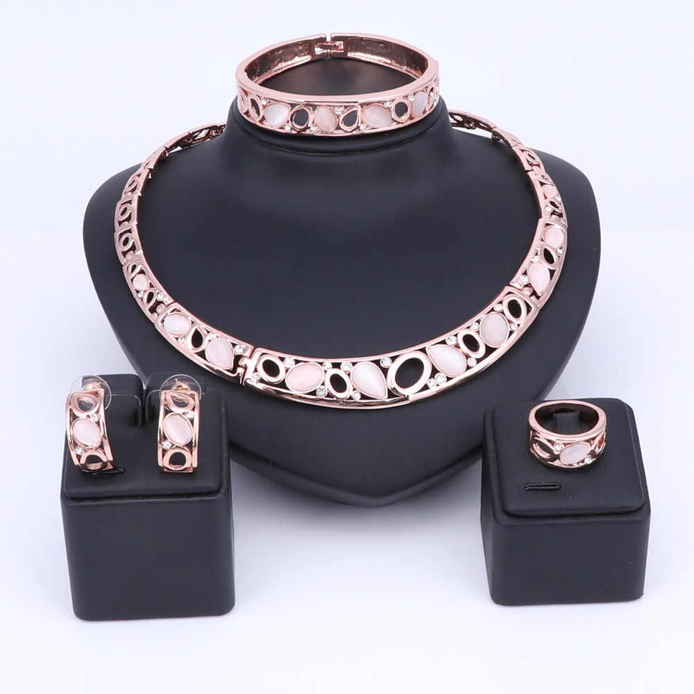 الأزياء القط العين كريستال قلادة أقراط دبي مجموعات المجوهرات الفاخرة الزفاف الزفاف مجوهرات مخصصة حسب الطلب هدايا للعرائس النساء