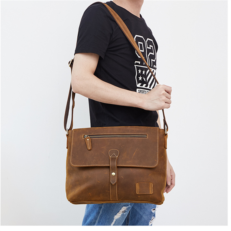 Nesitu Vintage High Quality Brown Crazy Horse Leather Men Messenger Bags Genuine Leather Cross Body Man Shoulder Bag M6352 nesitu high quality vintage dark brown genuine leather men bag crazy horse leather small men messenger bags shoulder bag m7051
