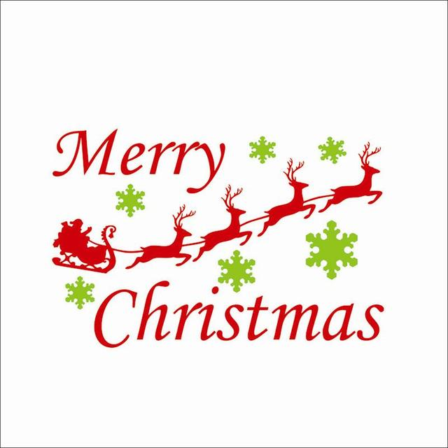 carriage christmas wall stickers xmas deer wall stickers merry christmas removable wall stickers