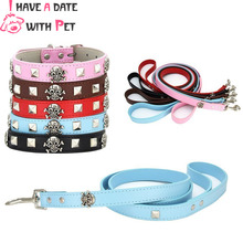 New Pet Dog Collar Dog Leash Fashion Skull decoration Pink Blue Black Brown Red Leash for Small Large Dog Puppy Collar for Dogs lighting polyester leash for pet dog w 1 led blue light blue black