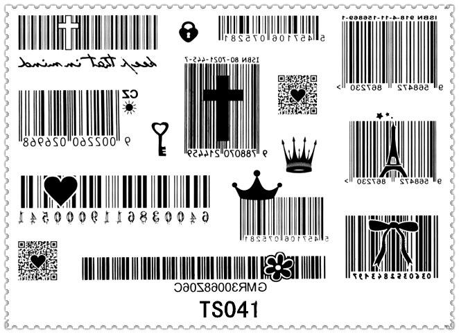 Yeeech Tijdelijke Tattoo Sticker Harajuku Bar Code Kruis Hart Corwn