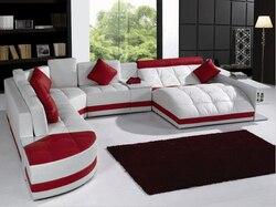 Sofás para sala de estar para sofá de canto de couro moderno