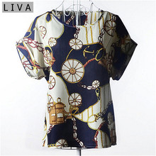 Summer Vintage Wheels Blusas Femininas Womens O-Neck Front Up Short Sleeve Blouse Sexy Multicolor Chiffon Shirt Tops Big Size