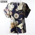 Rodas de verão Vintage Blusas Femininas Das Mulheres O-pescoço Da Frente Para Cima Multicolor Chiffon Camisa Manga Curta Blusa Sexy Tops Plus Size