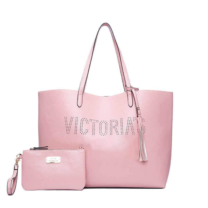 2PCS/set new fashion black pink bag travel duffel bag women Travel SHOULDER BAG Handbags beach large capacity shopping bags