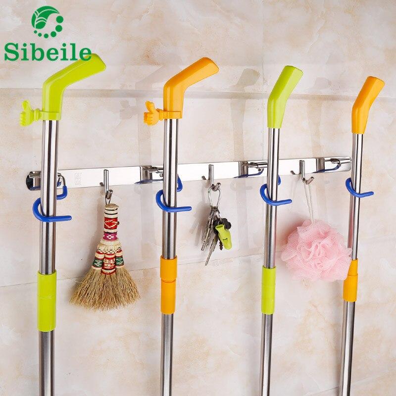 SBLE Kitchen Bathroom Organizer Rack Stainless Steel Broom Shelf Mop rack With Hooks Wall Mounted Mop Rack Broom Holder