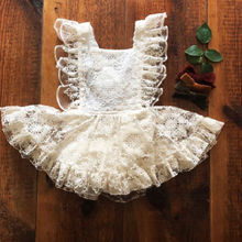 Newborn Toddler Baby Girls  dress Summer Strap Floral Lace sleeveless Dress Sundress 0-24m