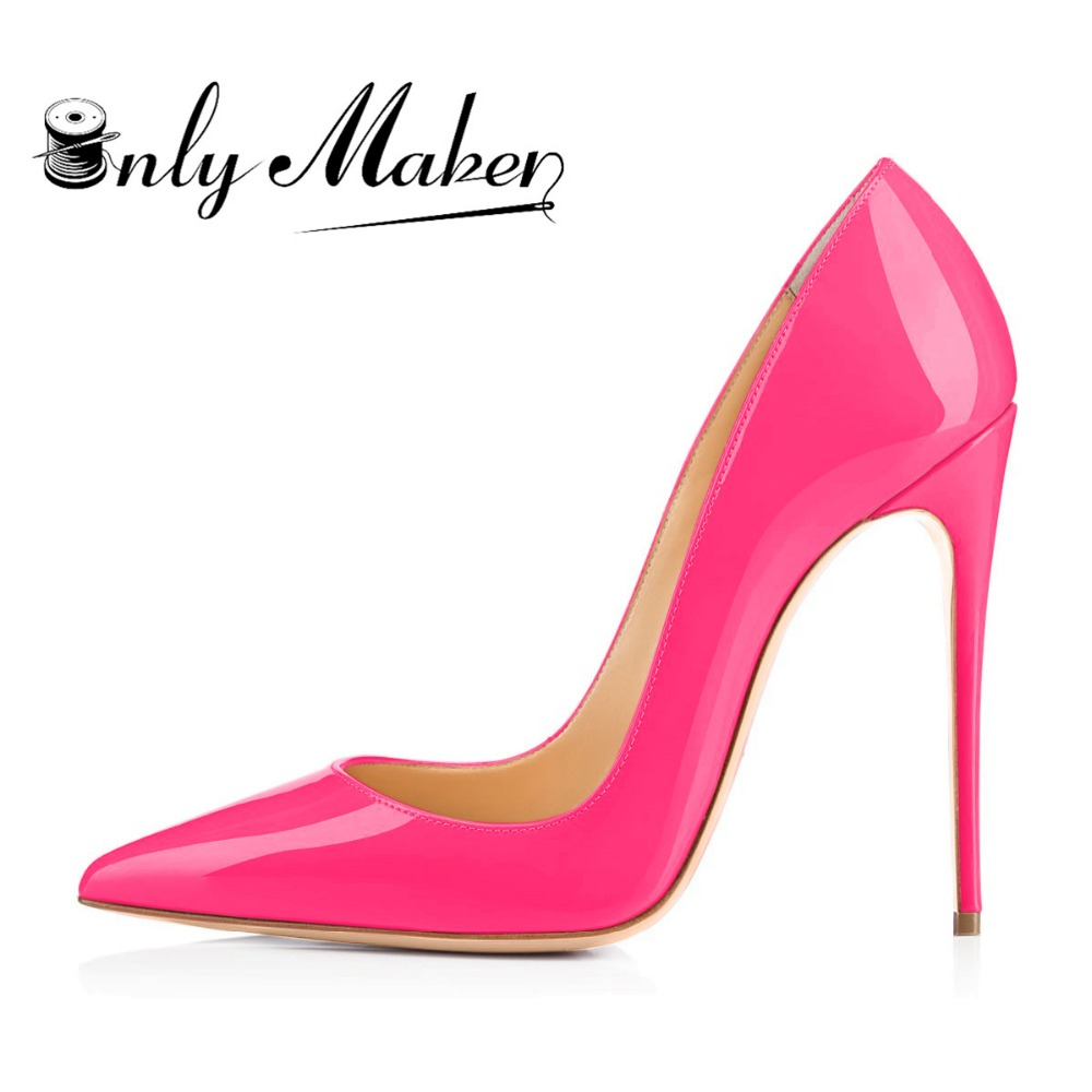 Onlymaker Women s Thin High Heel Stilettos Pointed Toe Patent Leather Shoes 4 7 inch Plus