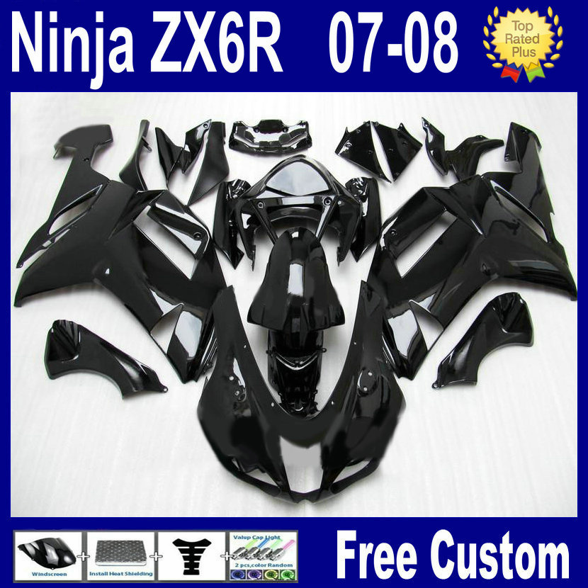 7gifts Customize free fairing kit for kawasaki ninja ZX6R 2007 ZX 6R 636 2008 ZX-6R 07 08 gloss black aftermarket bodywork fairi short bob wigs body wave glueless lace front wigs human hair wigs for black women
