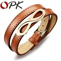 OPK Synthesis Leather Man Wrap Bracelets Fashion Infinity Stainless Steel Black/Brown Men's Jewelry Gift For Student PH972