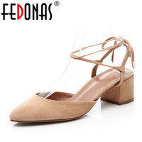 FEDONAS Ankle Strap High Heels Women Sandals Spring Summer Close Toe Chunky High Heels Genuine Leather Shoes Party Dress Sandals
