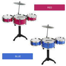 3-Piece Kids Drum Set Children Junior Drums Kit Simulation Jazz Drums Percussion Musical Instrument Wisdom Development Toys