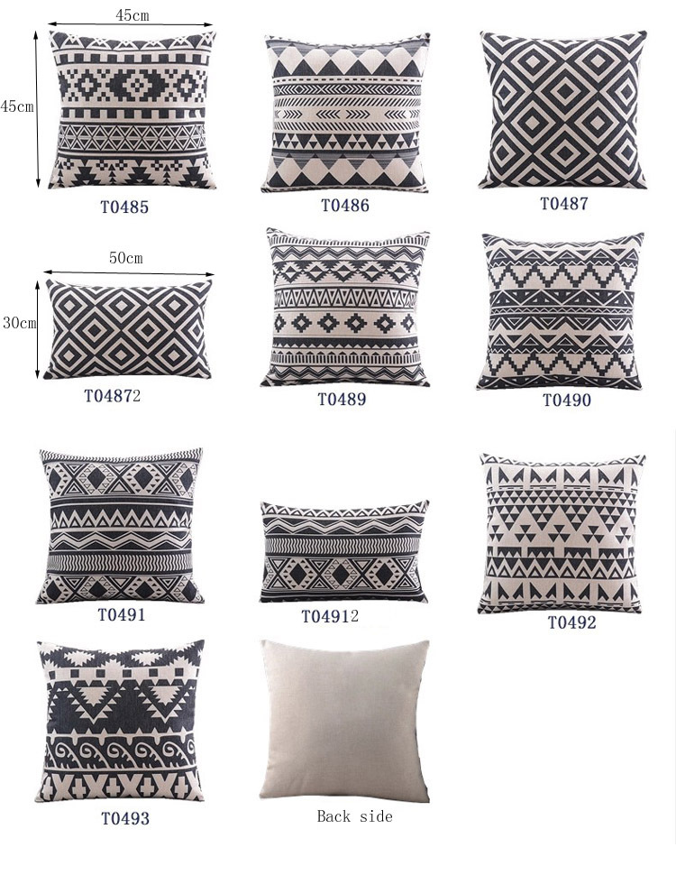 18 Retro Black White Geometric Cotton Linen Cushion Cover Ikea Sofa