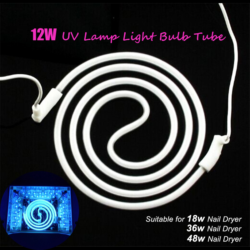 12W CCFL LED UV Spiral Tube For Led Nail Lamp Replacement Bulb For UV Gel Machine Nail Dryer